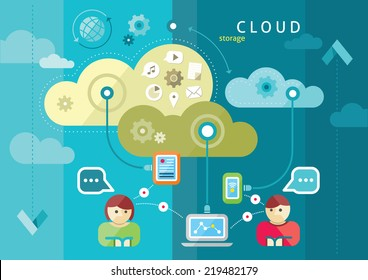 Cloud computing internet concept with a lot of icons tablet smartphone computer desktop monitor user downloads flat design cartoon style