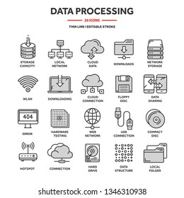 Cloud computing. Internet technology. Online services. Data processing, information security. Connection. Thin line web icon set. Outline icons collection.