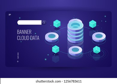 Cloud computing isometric concept, data Insight and analysis, computer science futuristic object, database server room banner landing page, dark neon vector