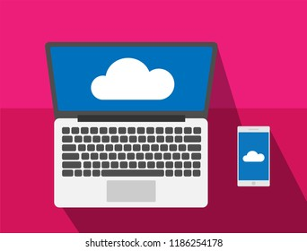 Cloud computing with laptop and smart phone flat design modern vector illustration concept, Network cloud service.