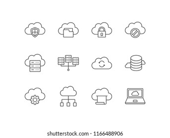 Cloud computing line icons set with protection, folder, security, server not found, hosting, network, sync, database, settings, printing, vps.