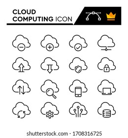 Cloud Computing line icons set. Editable Stroke