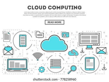 Cloud computing linear style infographics. Network cloud service, global data safety and interactive processing, financial system protection, online data backup, network communication concept