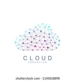 Cloud computing logo concept. Database storage services web technology banner. Creative idea concept design Cloud computing vector icon