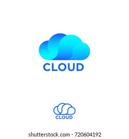 Cloud computing logo. Cloud info emblems. Cloud storage logo. Chat or network icon.