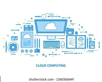 Cloud computing, media data server. Web storage. Digital technology. Internet connection. Flat blue outline background. Line art vector illustration.