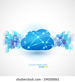 cloud computing with motion network background concept, vector illustration