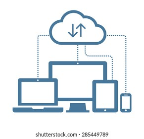 Cloud computing Network Connected all Devices. Flat design.