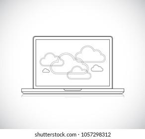 Cloud computing network on a Laptop Computer. Line Illustrator. design graphic