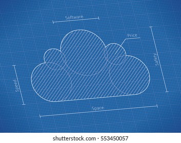 Cloud computing network technology symbol blueprint and service qualities: speed, capacity, software, safety, price. Concepts: Internet web files storage, database, iCloud, Google Drive, Dropbox etc.