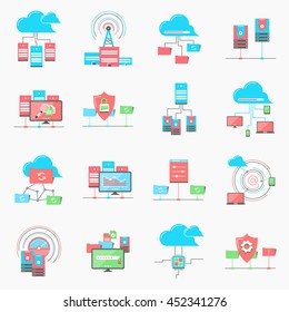 cloud computing networking. server datacenter. sad and hdd, computer network technology. server database, technical instruments. Modern flat design. Logo pictogram elements