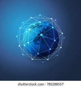 Cloud Computing and Networks Concept with Earth Globe - Abstract Global Digital Connections, Technology Background, Creative Design Element Template