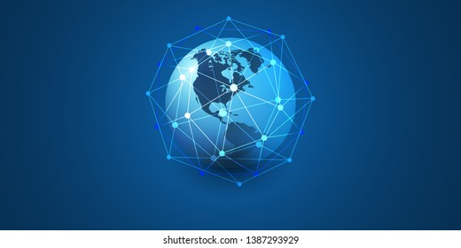 Cloud Computing and Networks Concept with North and South America Side of the Earth Globe - Abstract Global Digital Connections, Technology Background, Creative Design Element Template