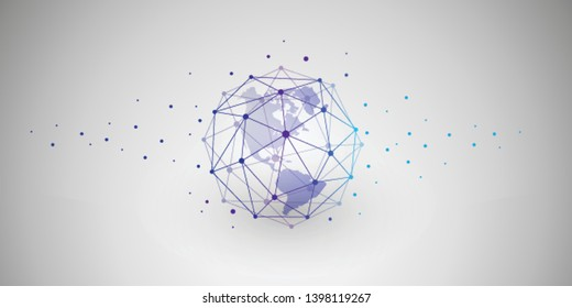 Cloud Computing and Networks Concept with North and South America Side of the Earth Globe - Abstract Global Digital Connections, Technology Background, Creative Design Template