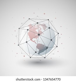 Cloud Computing and Networks Design Concept with Polygonal Sphere and Earth Globe - Big Data, Global Access