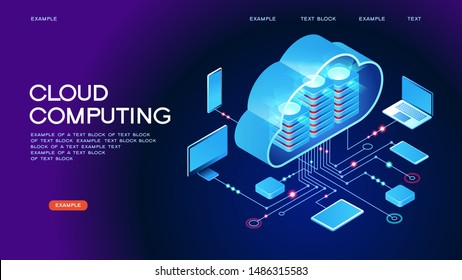 Cloud computing.  Online devices upload, download information. Data in database on cloud services. Isometric concept. Modern 3d isometric vector illustration of web page.