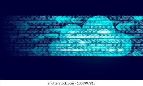 Cloud computing online storage binary code numbers. Big data information future modern internet business technology. Blue glowing global file exchange available background vector illustration