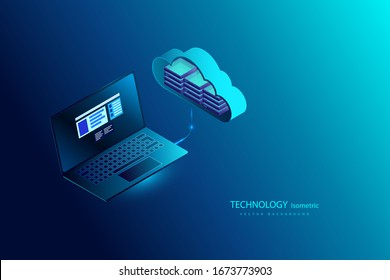 Cloud computing online storage. Cloud data storage isometric infographic. 3d servers and datacenter connection network. Landing page,laptop, smart modern technolodgy concept with gadgets, smartphone.