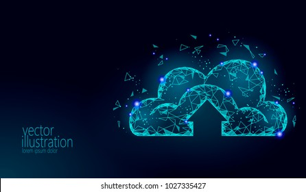 Cloud computing online storage low poly. Polygonal future modern internet business technology. Blue glowing global data information exchange available background vector illustration
