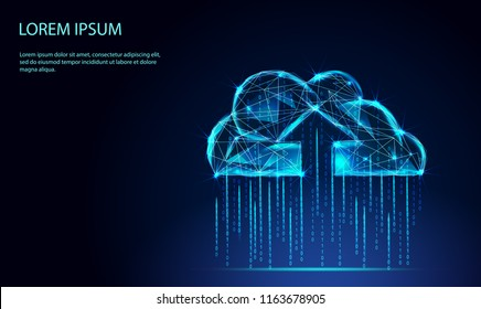 Cloud computing online storage low poly. Polygonal future modern internet business technology. Blue glowing global data information exchange available background vector illustration.