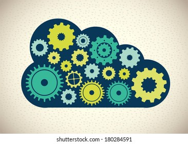 cloud computing over beige background vector illustration