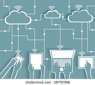 Cloud Computing Paper Cutout Stickers BYOD Devices Network - Wifi Internet Connectivity concept, EPS10 Grouped and Layered