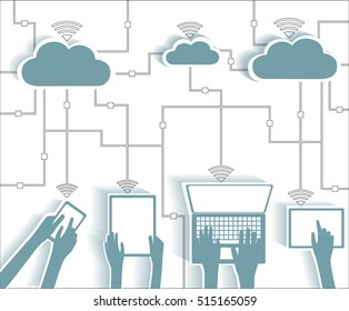 Cloud Computing Paper Cutout Stickers BYOD Devices Network - Wifi Internet Connectivity concept, Blends EPS10 Grouped and Layered
