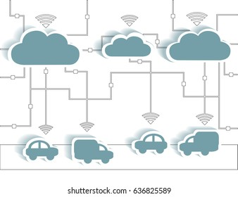 Cloud Computing Paper Cutout Stickers Cars and Trucks WIFI Network - Internet Connectivity concept, EPS10 Grouped and Layered