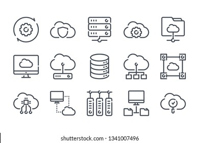 Cloud computing related line icon set. Computer system and Cloud service vector linear icon collection.