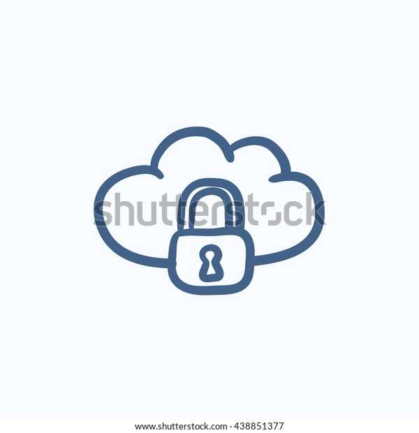 Cloud computing security vector sketch icon isolated on background. Hand drawn Cloud computing security icon. Cloud computing security sketch icon for infographic, website or app.