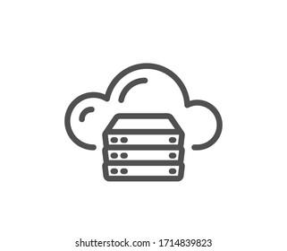 Cloud computing server line icon. Internet data storage sign. File hosting technology symbol. Quality design element. Editable stroke. Linear style cloud server icon. Vector