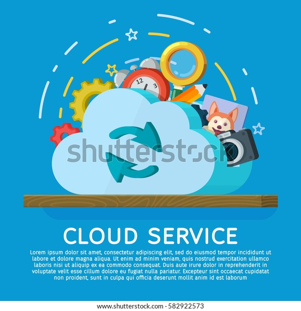 Cloud computing services banner in flat style. Networking communication and data icons. Data provision and cloud computing services. Vector illustration.