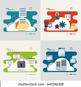 Cloud Computing and services Technology Concept. Vector Illustration. Set of the images.
