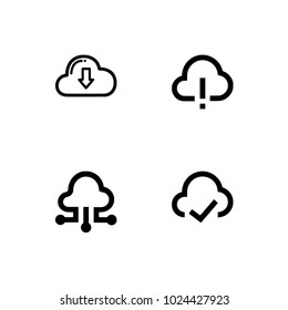 Cloud computing. Set icons EPS 10 vector format black and white optimized for both large and small resolutions. Transparent background.