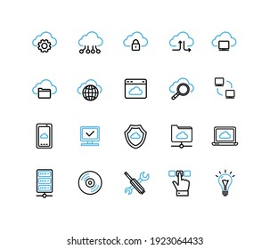 Cloud Computing Sign Black and Blue Thin Line Icon Set Include of Telephone and Document. Vector illustration of Icons