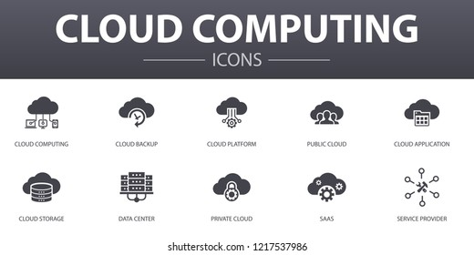 Cloud computing simple concept icons set. Contains such icons as Cloud Backup, data center, SaaS,  Service provider and more, can be used for web, logo, UI/UX