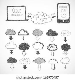 Cloud computing sketch. Icons of clouds, phone, laptop and arrows. Hand-drawn with ink. Vector sketch illustration.