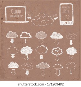 Cloud computing sketch. Icons of clouds, phone, laptop and arrows. Hand-drawn with ink on brown paper. Vector sketch illustration.