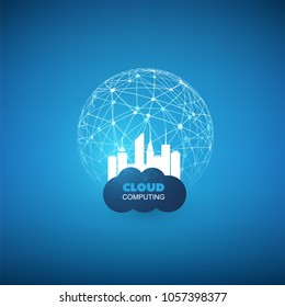 Cloud Computing and Smart City Design Concept - Digital Network Connections, Technology Background