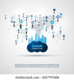 Cloud Computing and Smart City Design Concept - Digital and Business Network Connections, Technology Background