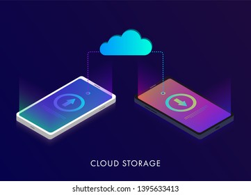 Cloud computing storage, data transfers on Internet from mobile phone gadget to another phones. Isometric network cloud 3D flat design concept
