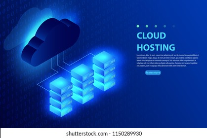 Cloud computing, storage, hosting, services, network management, data synchronization vector concept. Global swatches. Computer technology, network, database, internet center.Server racks with cloud.