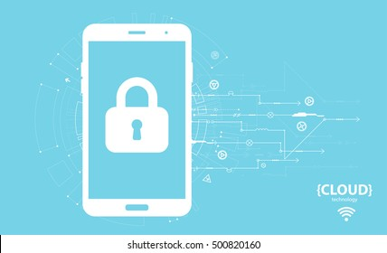 Cloud computing storage. Mobile security protection. Vector illustration.