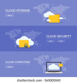 Cloud computing storage service and security banner concept. Vector illustration