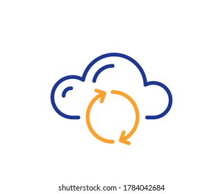 Cloud computing sync line icon. Internet data storage sign. File hosting technology symbol. Colorful thin line outline concept. Linear style cloud sync icon. Editable stroke. Vector
