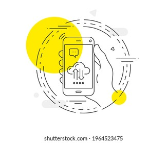 Cloud computing sync line icon. Mobile phone vector button. Internet data storage sign. File hosting technology symbol. Cloud sync line icon. Abstract concept badge. Vector