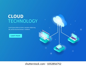 Cloud computing technology concept with pc, laptop, smarphone. Can use for web banner, infographics, hero images.  Line style Isometric vector illustration.