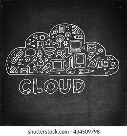 Cloud computing, technology connectivity concept. Chalk board drawing