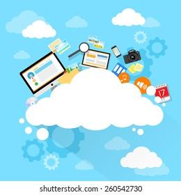 Cloud computing technology device set internet data information storage flat design vector illustration
