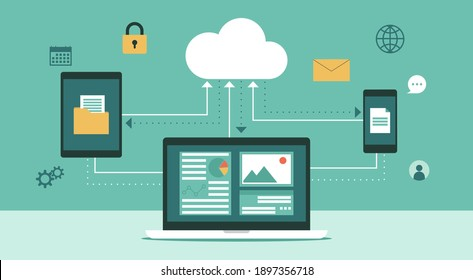 Cloud computing technology network with laptop, tablet and smartphone, Online devices upload information and data in database with business icon, flat vector illustration